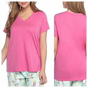 HUE Plus Size Sleep Tee V Neck Pajama Top NWT